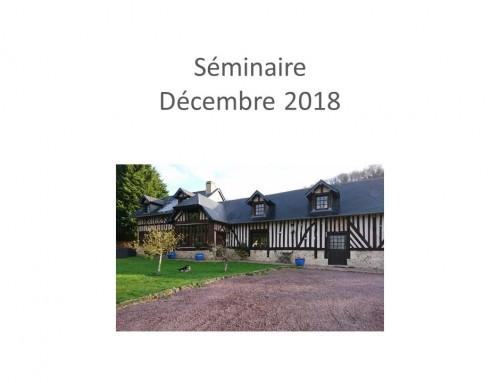 Séminaire de fin d'année – Décembre 2018
